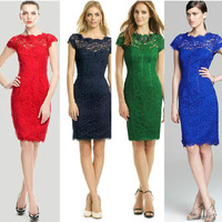 Stunning!European Fashion Women High Quality Lace Pencil Dress Sexy Cutout Back Formal Party Cocktail Dresses 13327