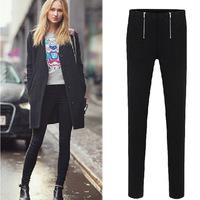 2014 New fashion Spring Summer womens Frontal Zipper Stretch Skinny Black Pant women casual small Feet Pants plus size XL - 5XL