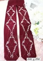 Princess classic lolita pantyhose Vintage cross small flower Wine red  burgundy printing Velvet gentlewoman conjoined pantyhose