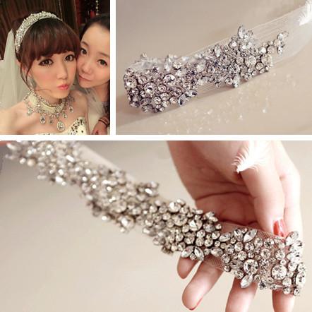 New 2014 Wedding Bridal Hair Accessories for Women Crystal Rhinestone Mesh Yarn Headbands(China (Mainland))
