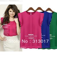 blusas femininas 2014 S-XXL Free Shipping Plus size New fashion fly sleeve chiffon short-sleeved women's blouse camisas