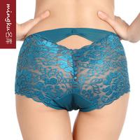 Natural fiber antibiotic soft transparent sexy lace mid waist plus size panty 2PCS/LOT Free shipping