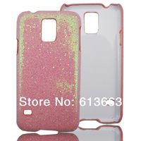 Glitter Bling Sparkle gluing hard Plastic Case For Samsung GALAXY S5 SV I9600 cover cases(pink)