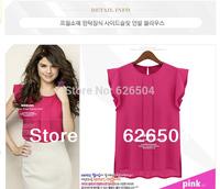 New 2014 hot Fashion Women Chiffon Shirts Blouse OL Ladies' Round Collar Short Butterfly Petal Sleeve Ruffles Tops xxl blouses