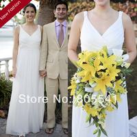 2014 New Arrival White Beach Wedding Dress Chiffon and Satin V-neck Floor Length Flowy Vintage Wedding Dress HB3012