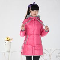 2014 New fashion big girls kids thickening medium-long children down jacket coat size 150-170 Free shipping