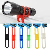 50pcs/lot Cycling Bike Bicycle Silicone Elastic Strap Bandage Flashlight Mount Holder Free Shipping