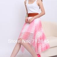 Free Shipping 2014 New Asym Hem Chiffon Ladies Skirt Long Maxi Skirt Womens Asymmetric Skirts 9 colors Elastic Waist/ 001
