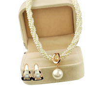 Luxury White Cream Pearls Gold Wedding Jewelry Set Stud Earrings & Necklace