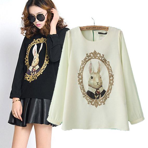 2014 new Korean women rabbit pattern round neck long-sleeved T-shirt(China (Mainland))