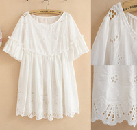 New 2014 Women Summer Dress Vintage Embroidery Lace Dress,White casual dresses,Vestidos Tunic Gown,Blouse Tops,L Plus size