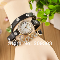 2013 new fashion wrap around bracelet watch, love crystal imitation leather chain women's quartz wrist watches wholesale