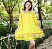 Hot 2014 free shipping Korean loose multicolor fertilizer to increase women's chiffon dress code A9021
