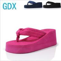 Slip-resistant female summer slippers platform flip high-heeled platform shoes wedges flip flops shoes towel cloth sandals