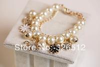 1pc New Fashion Korean Style Gold Plated Round Pearl Chain Rhinestone Horse Enamel sun Flower Coin Bracelet womens jewelry