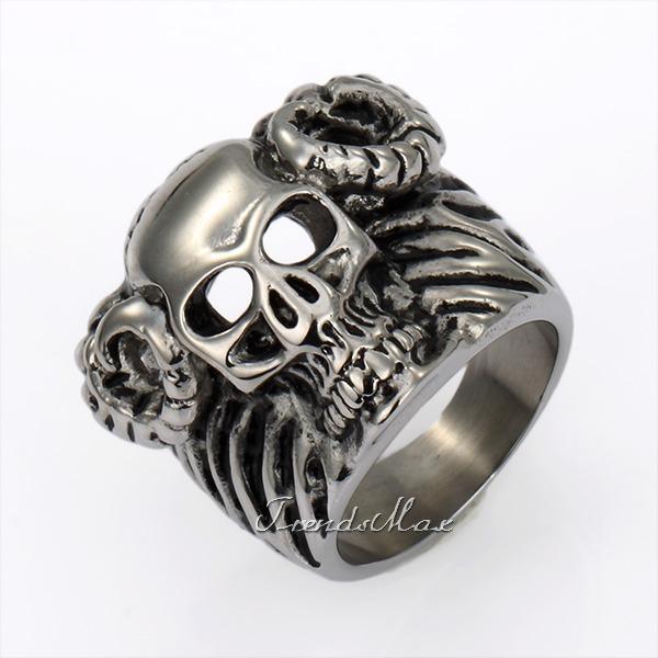 Punk Mens Boys Bull Head Skull Ring Black Silver Tone 316L Stainless Steel Ring US Sz 8-13 LHR88(China (Mainland))