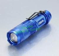 Ultrafire cree q5 led flashlight mini zoomable 3 modes waterproof glare torch 14500 /AA (without battery) 5 colors 2pcs