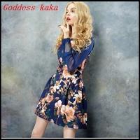 Free shipping  2014 New fashion and latest  design dress women summer print dresses good quality  chiffon dress A020
