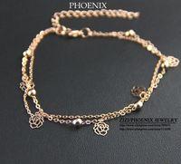 HEB049 Wholesale 14K rose Gold Plated Women tops Daisy Flowers Bracelets Fashion Jewelry pulseiras femininas Pulseras mujer