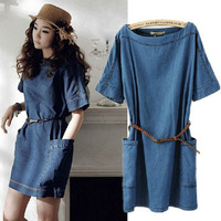 New Loose Casual Plus Size Vintage Denim Dress Big Pocket Slash Neck Women Summer Dresses with Belt XS-XXXL