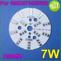 30pcs/lot 7W ceiling light PCB For5630/5730dia50mm bulb LED lamp PCB without beads for7w ceiling light  E27 B22 GU10Lamp bulb