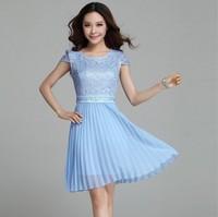 2014 New Fashion Stlye Cute Yellow Sky Blue Pink Short Sleeve Lace Pleated Chiffon Short Dress Hot Sale Brand Women