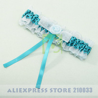 Glitter Blue Wedding Bridal Garter With Ribbon & Flower For Wedding Ceremony Article Free Shipping New Arrival