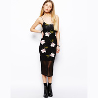 Orchid large print black gauze patchwork sweep spaghetti strap slim elastic haoduoyi one-piece dress