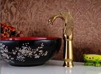 2014 Fashion Embossed Art Gold Polished Basin Faucets Bathroom Hot Cold Mixer Tap Faucet Wash Basin Mixer AT3606HG