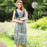 Fashion slim 2014 one-piece dress bohemia chiffon full dress floral print dress fashion female