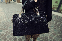 2014 Designer michael handbags women PU Leather tote messenger famous brand Black Sequins leopard grain crossbody bags for women