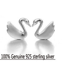 Wholesale Genuine 925 sterling silver crystal fashion earrings wedding beauty swan jewelry for women 4R618