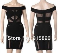 2014 new fashion Sexy Black mesh off shoulder slash neck bodycon bandage dress drop shipping
