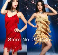 2014 female singer ds dance sexy costume Latin tassel paillette one-piece dress