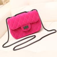 Velvet small le boy style chain bag 2014 women's handbag fuchsia suede free shipping