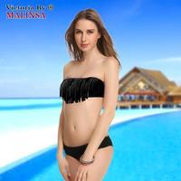Hot Sale Swimwear Women Padded Boho Fringe Bandeau Bikini Set New Swimsuit Lady Bathing suit 268-113-043