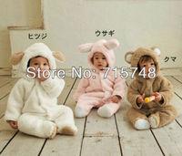 [1st baby mall] Retail 1pc baby girls boys cartoon autumn winter thickening polar fleece rompers long sleeve hoodies jumpsuit
