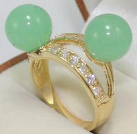 green  jade ring  fashioncoral/pearl/jade/inlaid crystal ring size :6-9