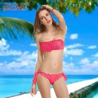 2014 Fashion Brand Tassel Bra Woman Sexy Bikini Set PAD Swimsuits Sport Fringe Top Swimwear Beachwear 268-161-041