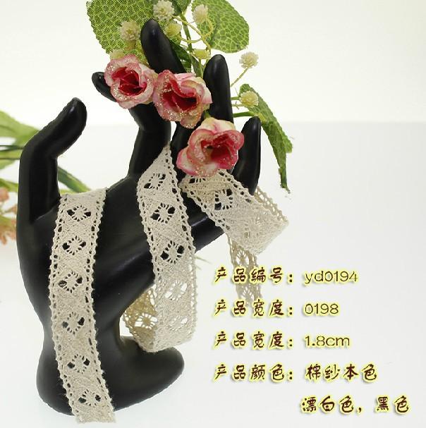 Wholesale 1.8 cm lace trim,DIY clothing accessories,cotton lace trim,garment/shoes decorative lace,bedding decoration lace(China (Mainland))