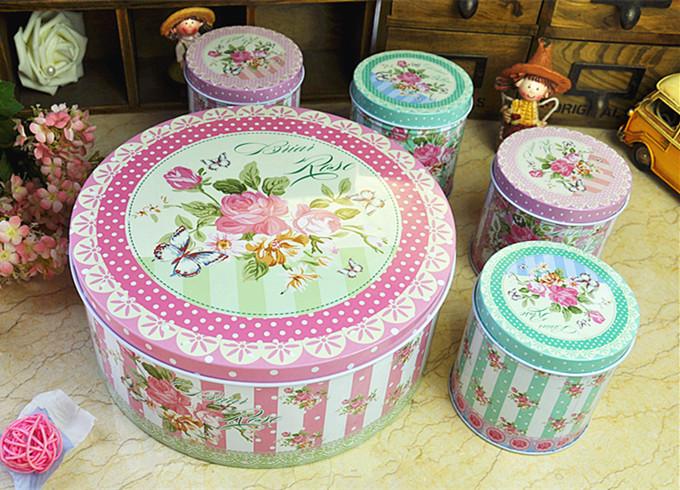 Round storage tin box with four small tin box candy tank snack tin box(China (Mainland))
