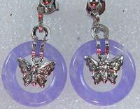 purple Jade circle  Butterfly Pendant Earrings