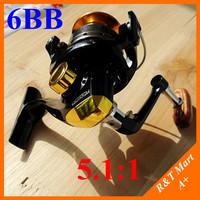 spinning fly fishing reels with metal spool 5.1:1 gear real  6 ball bearing abu garcia/daiwa/okuma for saltwater