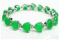 Charming  Green Purple Jade Heart link Bracele