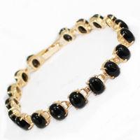 black crystal Link Clasp Bracelet