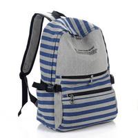 2014 stripe canvas backpack teenage backpack male Women in primary school students school bag casual
