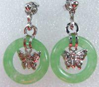 green  Jade circle  Butterfly Pendant Earrings