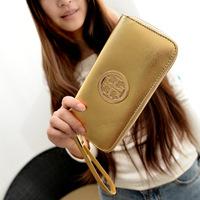 2014 New Arrival Gold wallet fashion women's wallet single zipper cutout metal standard wallet long design wallet