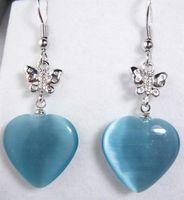 blue opal heart shaped word blessing butterfly earrings
