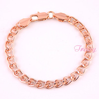 Mens Womens 6mm 18k Rose Gold Filled Snail Link Bracelet Chain Gold Fashion Accessories